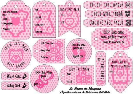 Etiquette Cadeau Naissance Rose